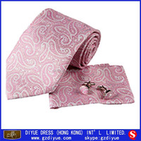 Custom Silk Fabric Designer Brand Name Necktie with Hanky and Cufflink