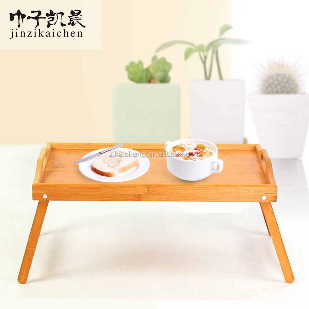 Hot Sale Korean Style Eco-Friendly Bamboo Folding Storage Tray With Legs