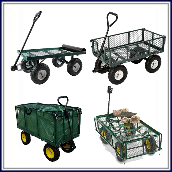 mesh 4 wheel garden flower pot cart