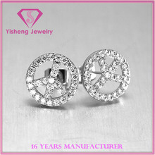 top quality cheap price round jewelry charms 925 silver earrings for women