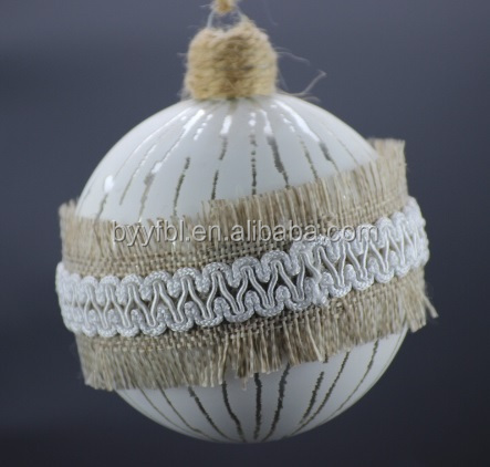 wholesaler christmas glass ball circled with nylon lace