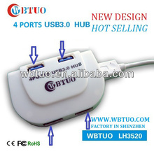 WBTUO Super speed 5Gpbs 4 ports USB3.0 HUB 5V with LED light for laptop