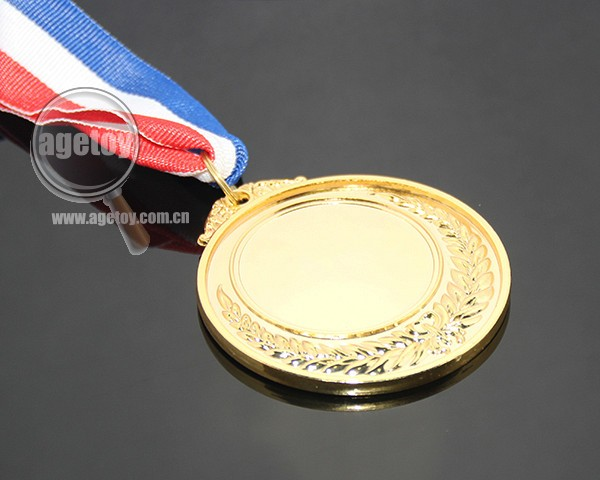 Blue White Red Color Ribbon Belt Custom Wholesale Celebration Souvenir Sports Meeting Blank Alloy Metal Gold School Medal