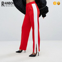 Hot Sale Red Straight Leg White Side Stripe Women Running Pants With Zip Detail