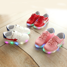 2017 Fashion New Cheap Breath Led Children Baby Kids Led Lights Up Running Shoes With Custom