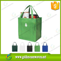 Promotion heat transfer printing non woven shopping bag/green color pp non-woven tote bags