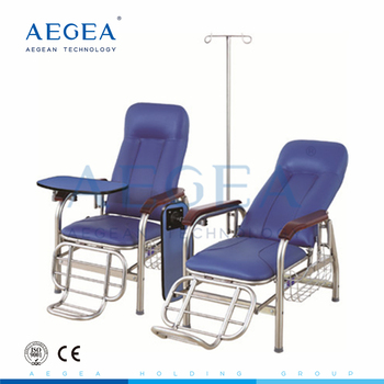 AG-TC001B PVC leather height adjustable hospital infusion chair with iv pole for sale