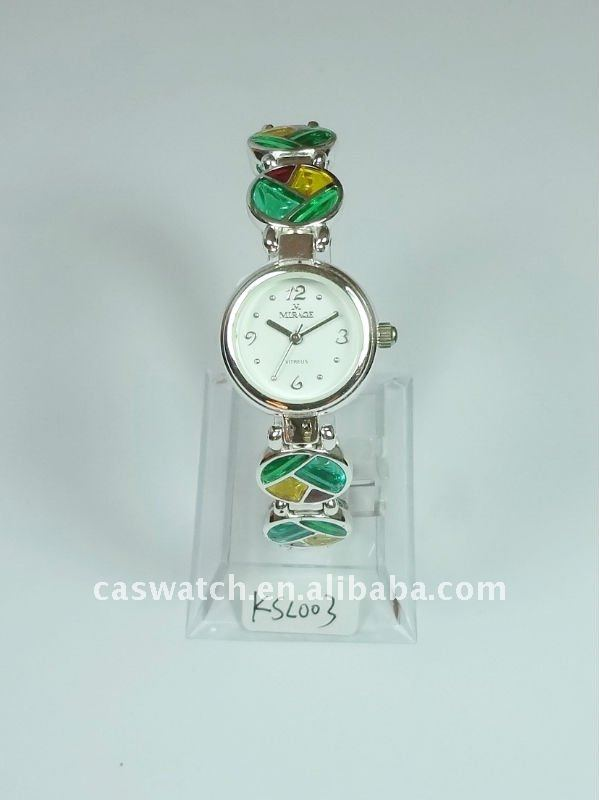 Silver 925 hand chain watch with colored-glaze bracelet