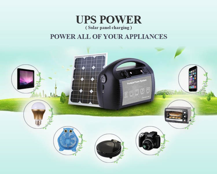 1000w output off line type uninterruptable portable power supply ups with solar charger AC charger for housing/hiking/camping