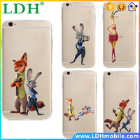 Kawaii Cute Soft TPU for Apple iphone 6 6s 5 5s plus Clear Phone Cases Cover coque Zootopia Nick Fox wilde Judy Hopps Rabbit