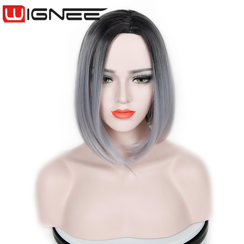Ombre Gray Color Synthetic Bob Wig <strong>14</strong> Inch Natural Black To Gray Color Synthetic Hair Weaving Braided Wigs For Party