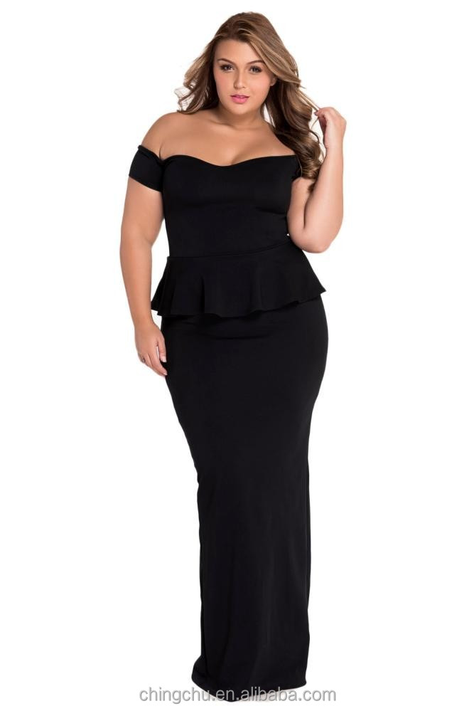 Women plus size Peplum Drop shoulder Cocktail Party Maxi Evening Dress