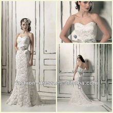 Beautiful Venice Lace Mermaid Gown With A Sweetheart Neckline With A Matching Beaded And Petal Ribbon Belt Trumpet Wedding Gown