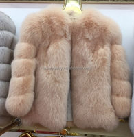 Factory price fox fur coat /beige fur jackt