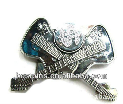 Guitar shape metal belt buckle