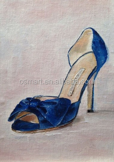 2015 Newly Special Dedigned Big Wholesale Artists Handmade Canvas woman high heels lady blue Shoes Oil painting Room Decoration