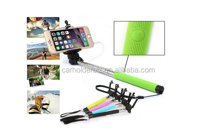Aluminium selfie stick with bluetooth shutter button