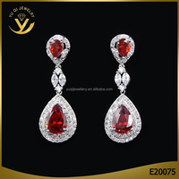 Luxury women red gemstone jewelry, sexy ruby earrings for party girl