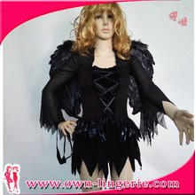 Devil Black Angel Sexy Halloween Costume Suppliers Wholesale with Halo and Wings