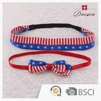 wholesale Baby Girls Hair Accessories elastic American Flag headwrap Bow baby cotton headbands