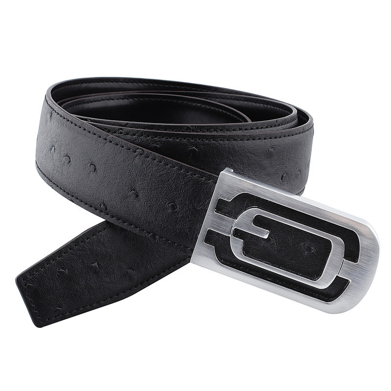 High Quality <strong>Belts</strong> for Men Genuine Leather Embossing Ostrich Pattern with Alloy Buckle