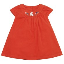 100% Cotton Corduroy Embroidered Rabbit Baby Girl Frock Fancy Smoking Dress for Kids wholesale