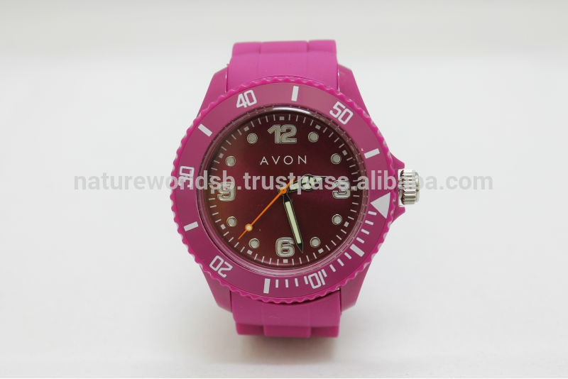 Beautiful Pink Dial Silicone Strap Watch
