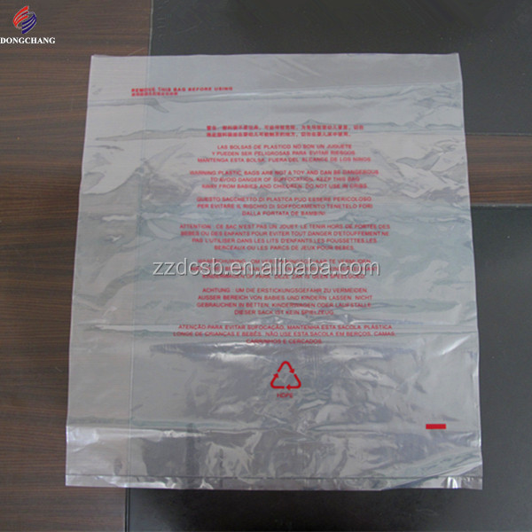 Clear ldpe poly bag with suffocation warning printed and air holes