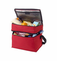 100% Recycled material promotional colorful non woven multi-compartment insulated tote fitness thermal lunch zippered cooler bag