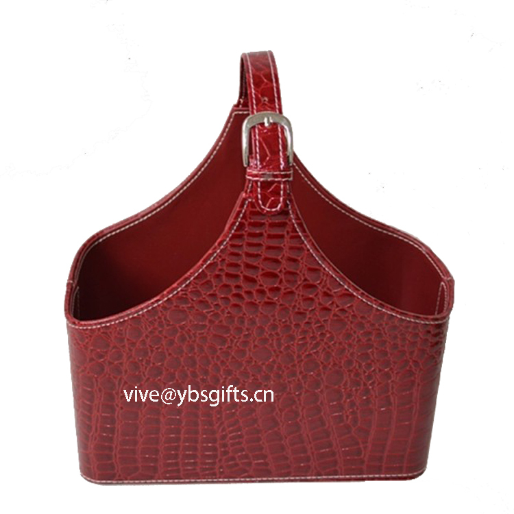 Crocodile faux leather storage basket