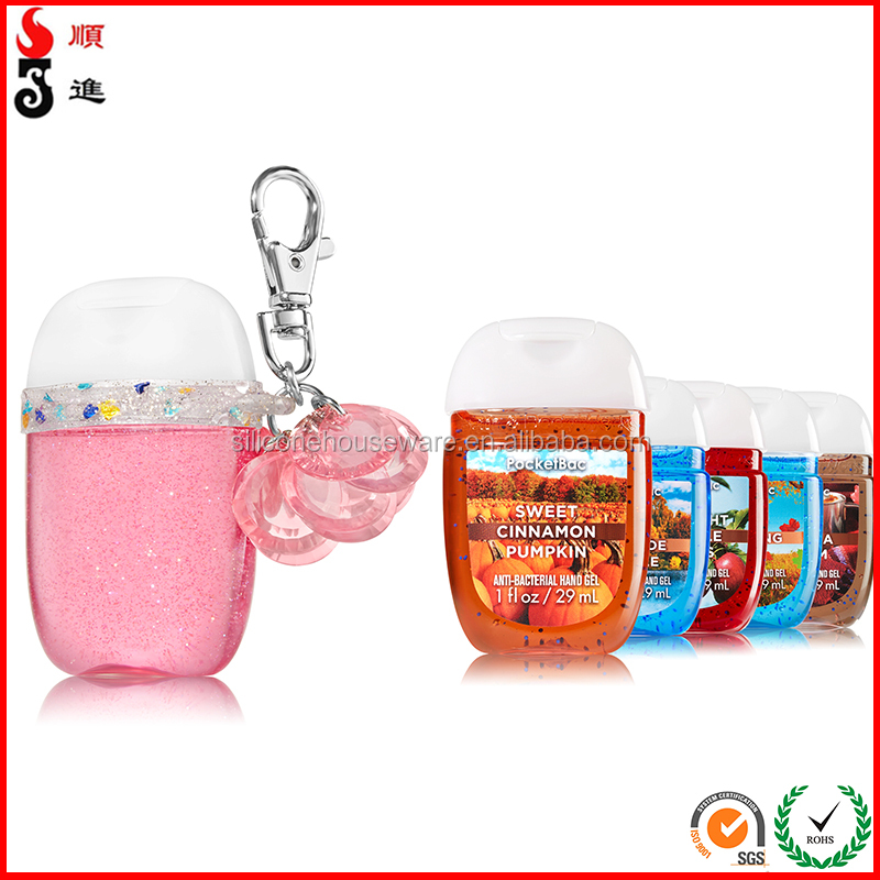 New Oval Round 30ml Bottle Hand Sanitizer Holder Keychain