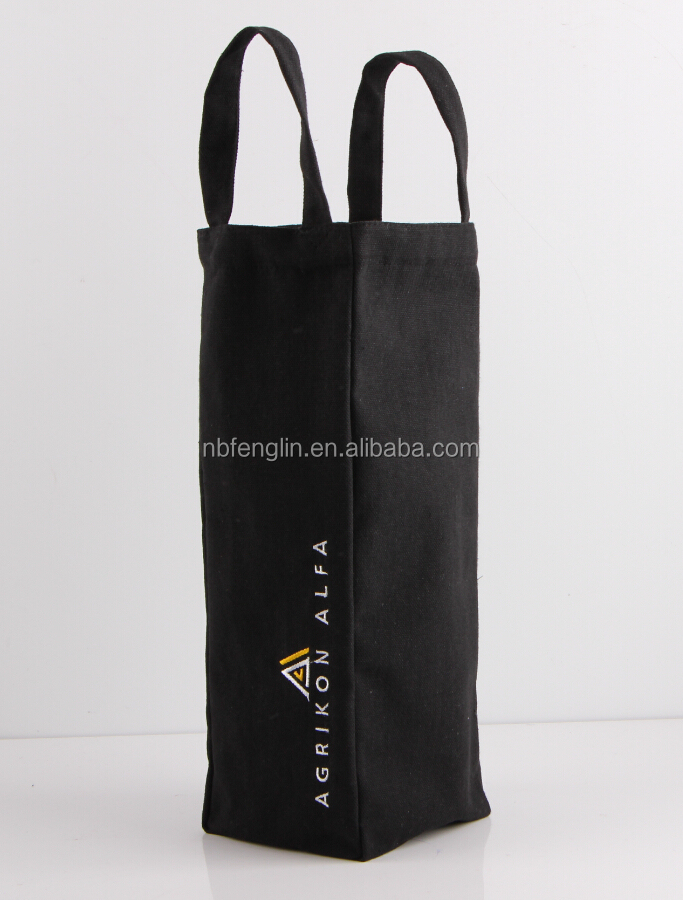 Wholesale Handled Cotton Reusable Bag Folding Wine Bottle Canvas Bag