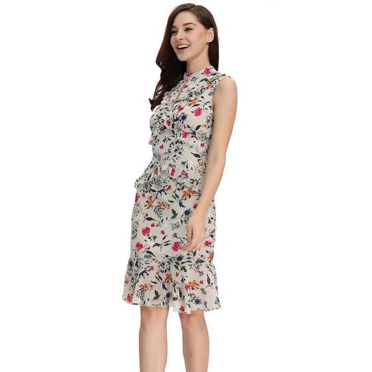 Wholesale Custom Ladies Sexy Khaki Sleeveless Fishtail Chiffon Sheath Bodycon Rose Flower Printed Midi Dresses