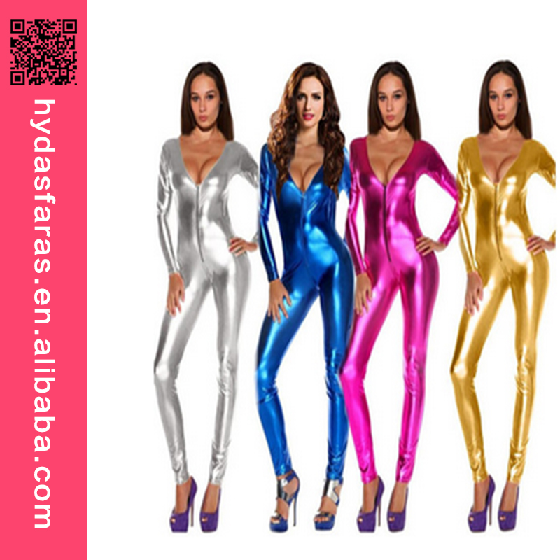 Multicolors Sexy PU Leather Latex Catsuit Women One Piece Sexy Clubwear Faux Leahter Jumpsuits
