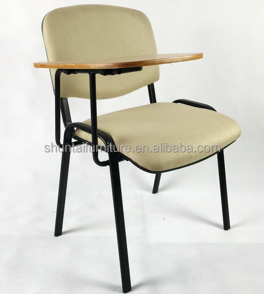 Wholesale Visit Arm Comfort Grey Fabric Student Chair With Wood Writing Tablet Modern Stainless Steel Frame Conference Chairs