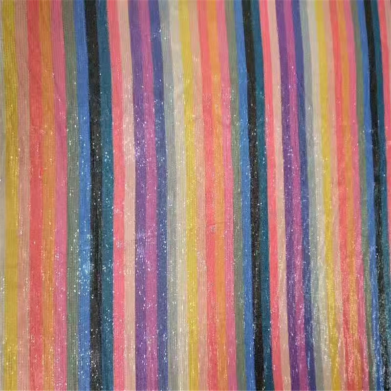 Professional wholesale produce cloth rainbow sequin embroidery <strong>fabric</strong>