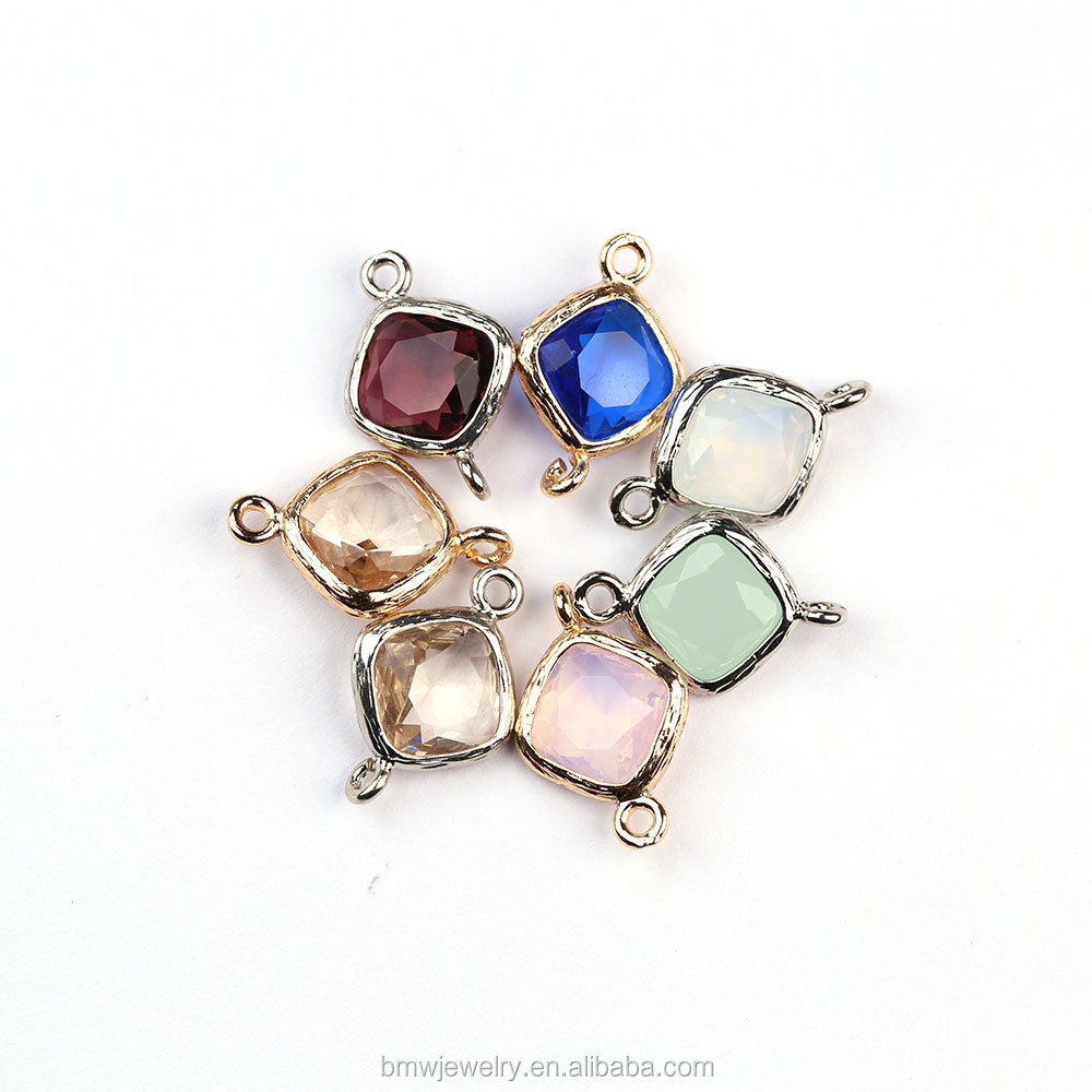 Wholesale Fashion Opal Glass Faceted Bezel Framed Charm Connector For DIY Jewelry Making