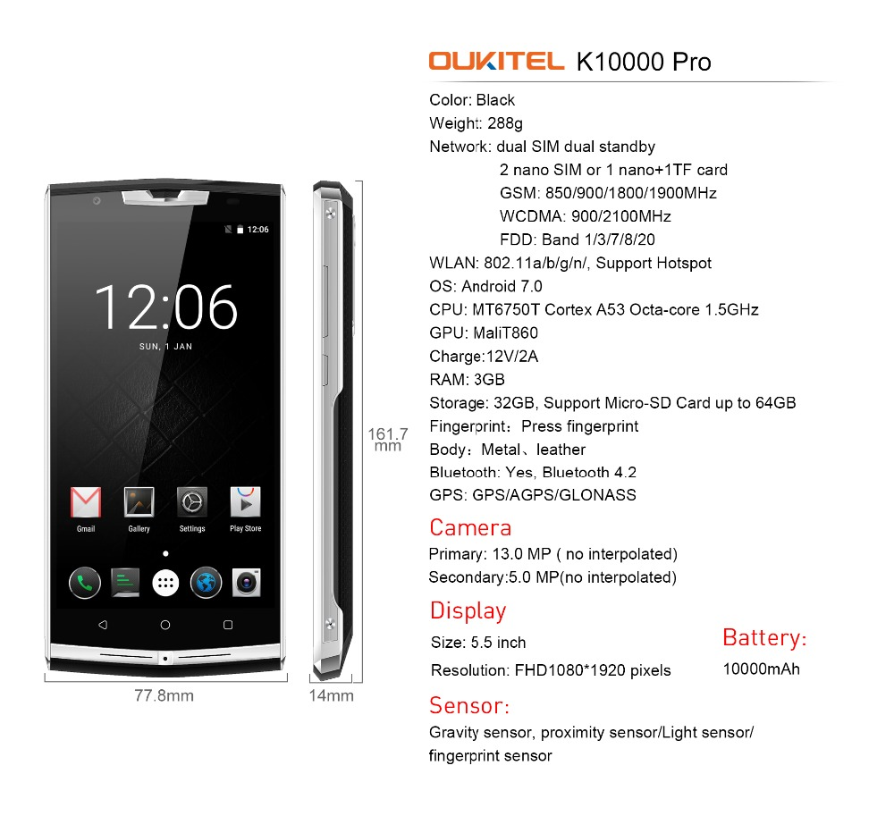 OUKITEL K10000 Pro 10000mAh Battery 4G Smartphone Android 7.0 MTK6750T Octa Core 3GB+32GB 13.0MP+5.0MP 5.5 Inch Mobile Phone