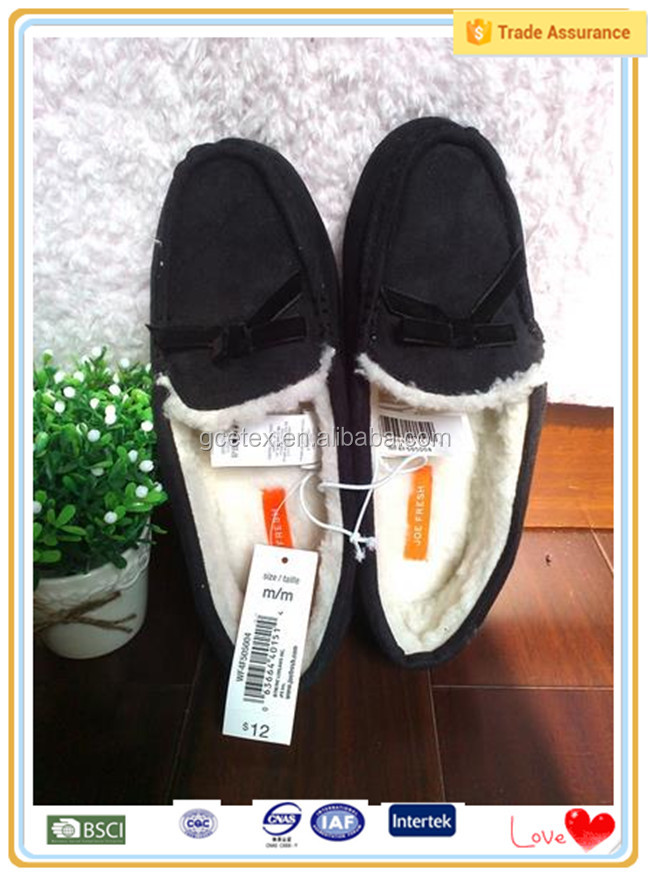 Black plush slip on easy wear european style fur boots