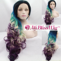 "Free Shipping 22"" Long Wavy Heat Resistant Fiber Hair Dark Roots Ombre Blue Green Blonde Purple Mix Color Lace Synthetic Wig"