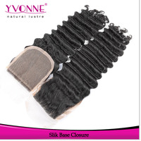 factory price brazilian hair dark brown lace cheap silk base closure