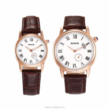 Latest fashion couple watch, Nice brown leather quartz couple fashion watches