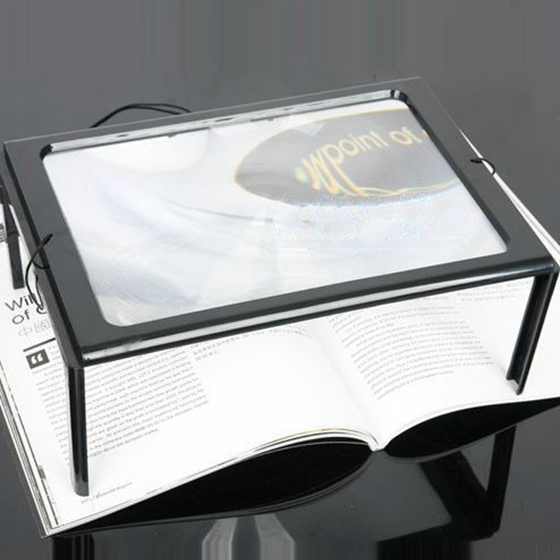 A4 Full page foldable magnifier, 3X Giant Large Hands Free Magnifying Glass With Light LED Magnifier For Reading