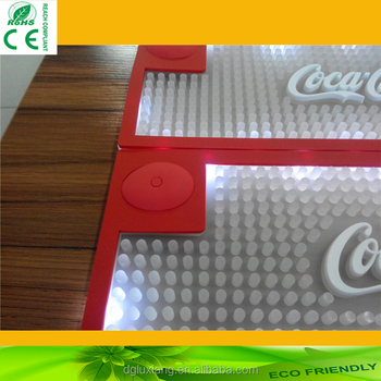 2016 hot new LED light bar mat, best quality soft PVC led bar mat for promotional gift