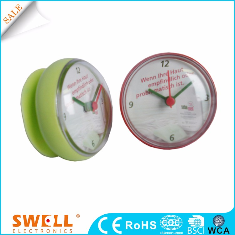 2016 round suction bathroom wall clock with waterproof