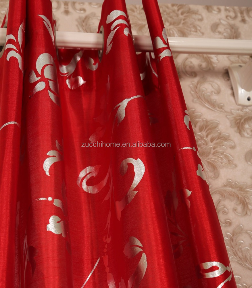 100% Polyester Fabric Faux Silk Flower Foil Printed Curtain Panel Drapes Drapery