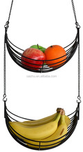 2-Tier Metal Wire Hanging Fruit Basket, Adjustable Length