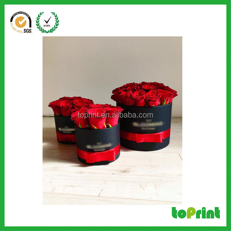 Luxury individual gift packaging black cardboard round cylinder paper box for flower