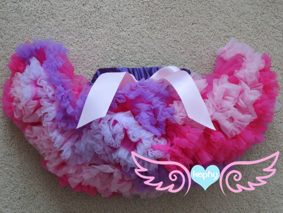 child pink and white lavender soft fluffy Pettiskirt