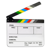Acrylic Film Clapboard Dry Erase Director Cut Action Scene Movie Clapper Board with Colorful Sticks